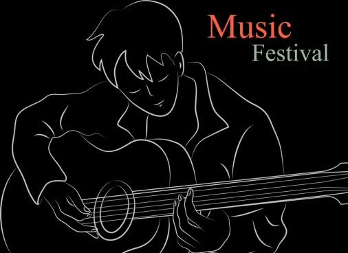 music background guitarist icon black white sketch