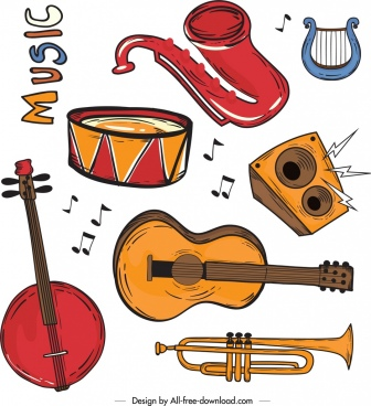 music background instrument icons decor colorful retro design