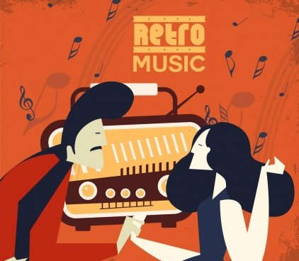 music background man woman radio icons retro design