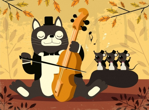 music background stylized cat mice icons cartoon design