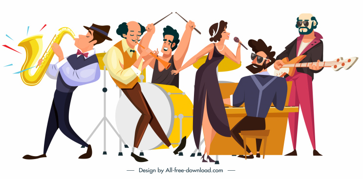 music band icons dynamic cartoon characters sketch