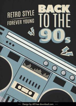 music banner dark retro cassette player sketch