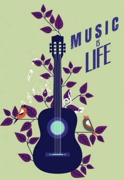 music banner guitar leaves birds icons flat design