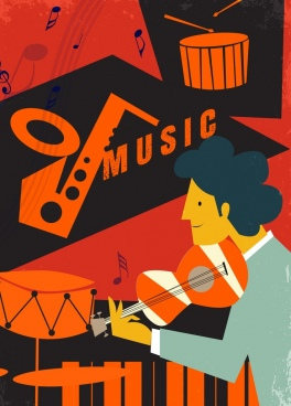 music banner man acoustic instruments icons retro design