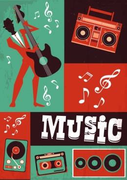 music banner notes guitarist instruments icons retro design