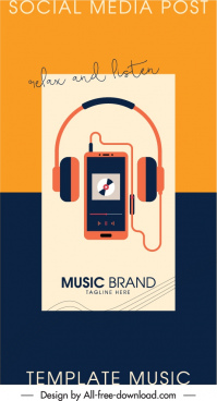 music banner template devices sketch flat design