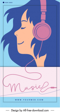 music banner template headphone girl sketch flat classic