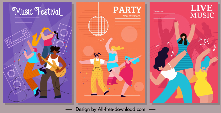 music banner templates cheering people colorful motion design
