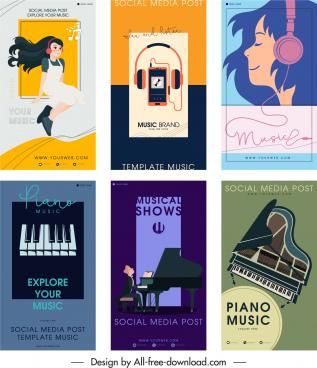 music banner templates elegant colored flat classic decor