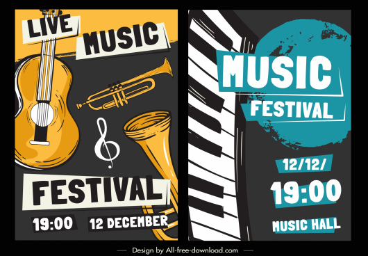music banner templates instruments sketch classical handdrawn