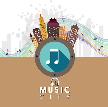music city banner colorful note and buildings symbol
