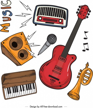 music design elements instruments icons colored retro design