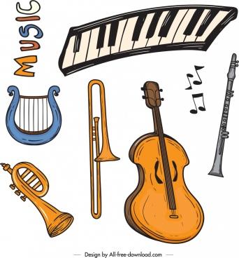 music design elements instruments icons retro design