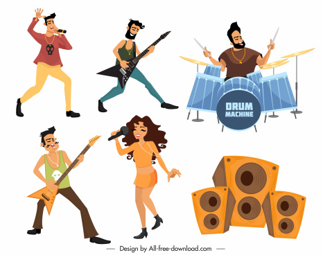 music design elements performers speaker sketch cartoon characters