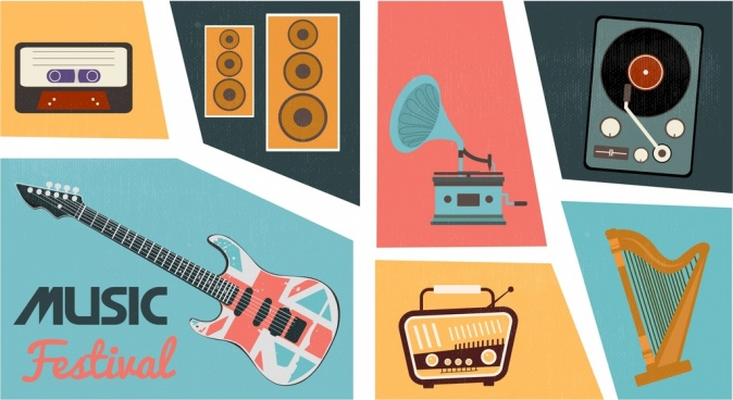music design elements retro instruments icons isolation