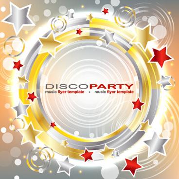 music disco party flyer design vector