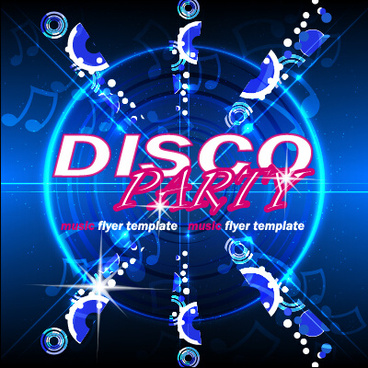 music disco party flyer design vector