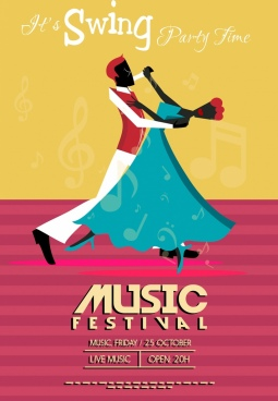 music festival banner dancing couple icon classical design