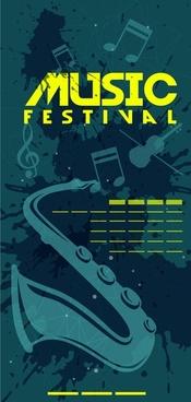 music festival banner dark vignette symbols design