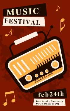 music festival banner vintage radio notes icons decor