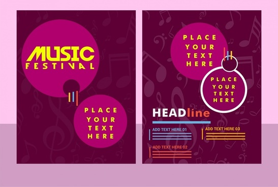 music festival banner violet vignette background design