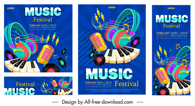 music festival banners colorful eventful design instruments icons