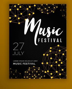 music festival flyer template dark 3d spheres sketch