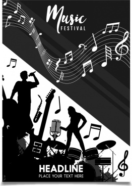music festival leaflet silhouette design notes decoration