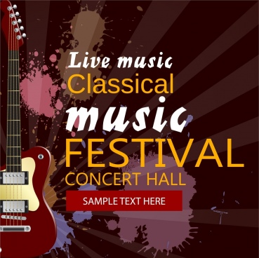 music festival poster guitar icon grunge watercolor design