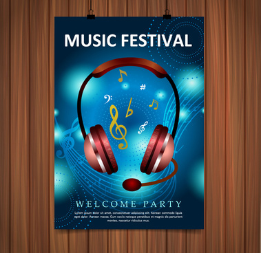 music festival poster illustration with blue background