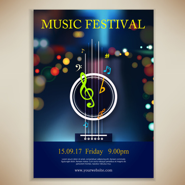 music festival poster illustration with bokeh background