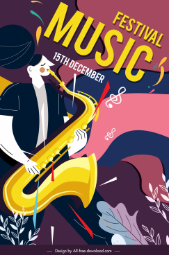 music festival poster saxophonist sketch colorful classic design