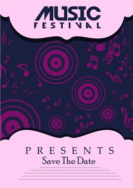 music festival poster violet symbol elements design