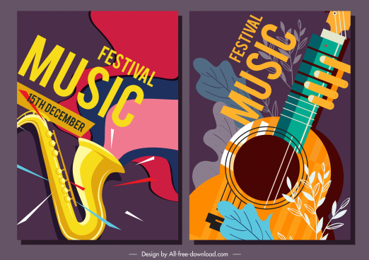 music festival posters trumpet guitar sketch classical design