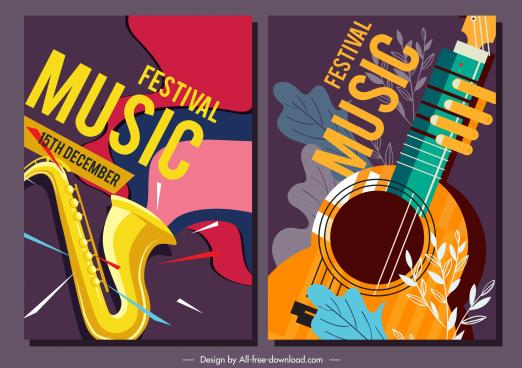 music festival posters trumpet guitar sketch classical design