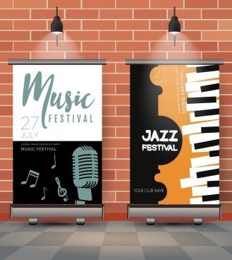 music festival templates instruments icons vertical decor