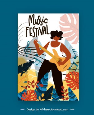 music festive poster guitarist notes leaves decor