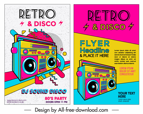 music flyer template colorful retro design cassette icon