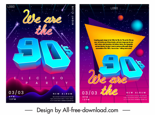 music flyer templates twinkling modern 3d number decor