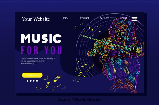 music homepage template dark colors blended violinist sketch