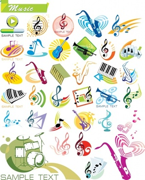 music design elements notes instruments icons