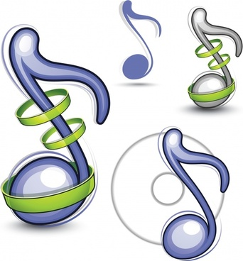 music note icons modern colored 3d flat shapes