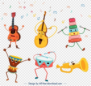 music instrument icons cute stylized cartoon characters