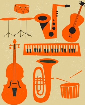 music instruments icons classical orange design