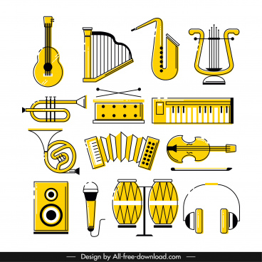 music instruments icons classical yellow sketch