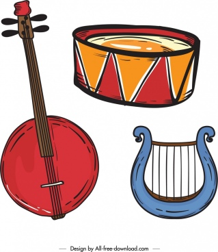 music instruments icons colored classical design