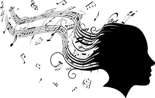 music note and people vector