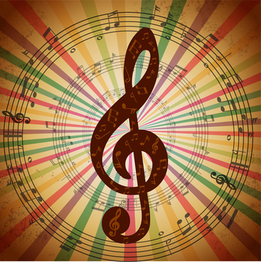 music notes background with eventful circles illustration