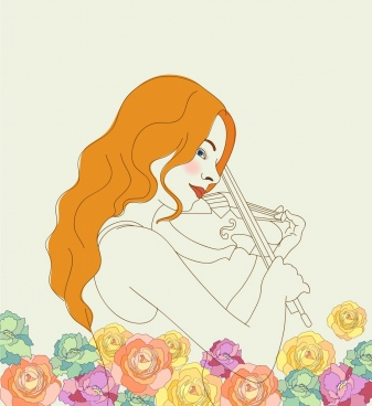 music painting female violinist icon sketch roses decoration