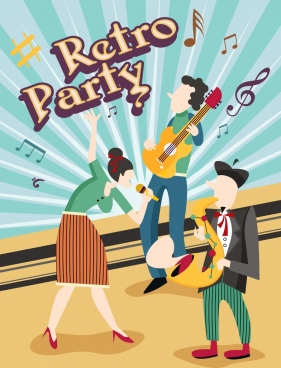 music party background performers icons retro design